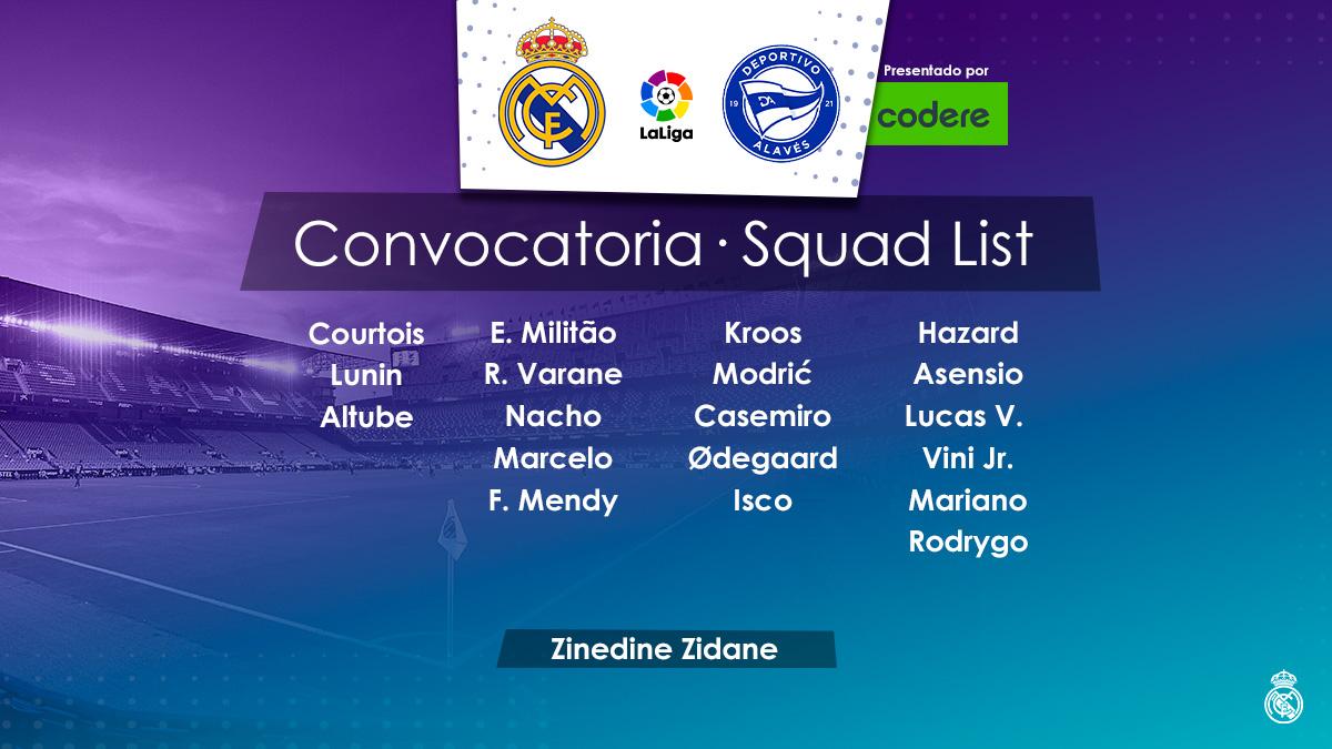 📋✅ ¡Estos son los 19 jugadores convocados por @realmadrid para enfrentar al @Alaves #halamadrid #RMCity #sabado #LaLigaxESPN #saturday #laliga #RealMadridAlaves