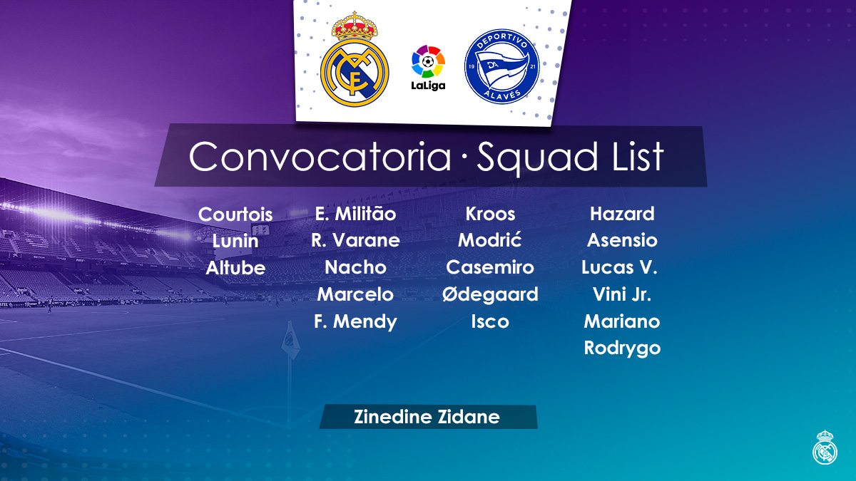 📋✅ Our 19-man squad for the match against @alaveseng! #RealMadridAlaves | #HalaMadrid