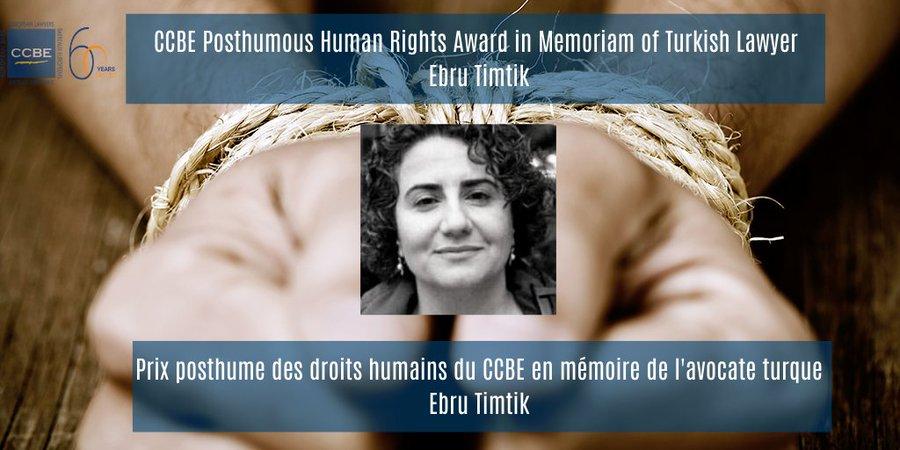 1 Milyon Avukatı Temsil Eden Avrupa Barolar Birliği Av. Ebru Timtik'e İnsan Hakları Ödülü Verdi
