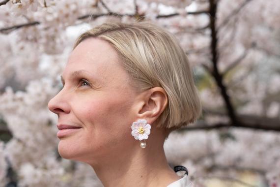 Sakura Cherry Blossom Earrings with Hanging  #jewelry #earrings #dangle&dropearrings #sakura #cherryblossom
