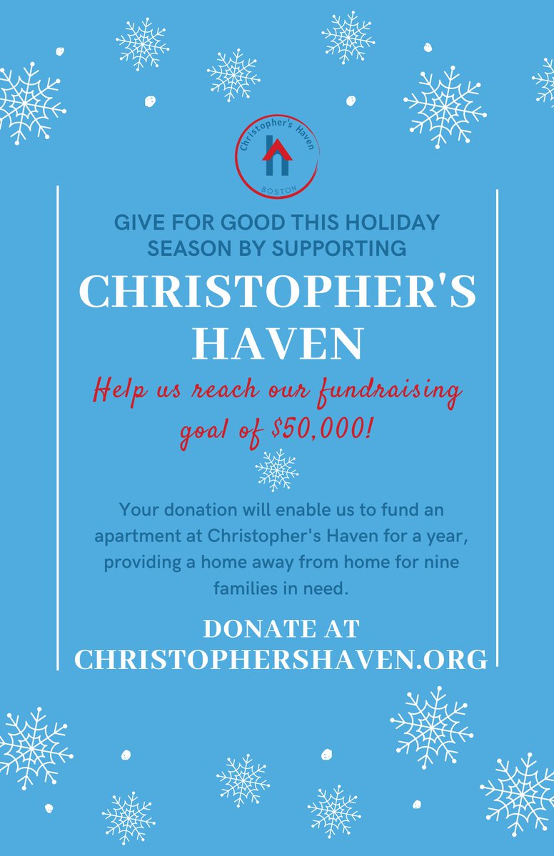This holiday season, we need YOUR help to reach our fundraising goal of $50,000. This money will enable us to fund an apartment at Christopher's Haven for a year, providing a home for up to nine families. Visit  to donate 💛