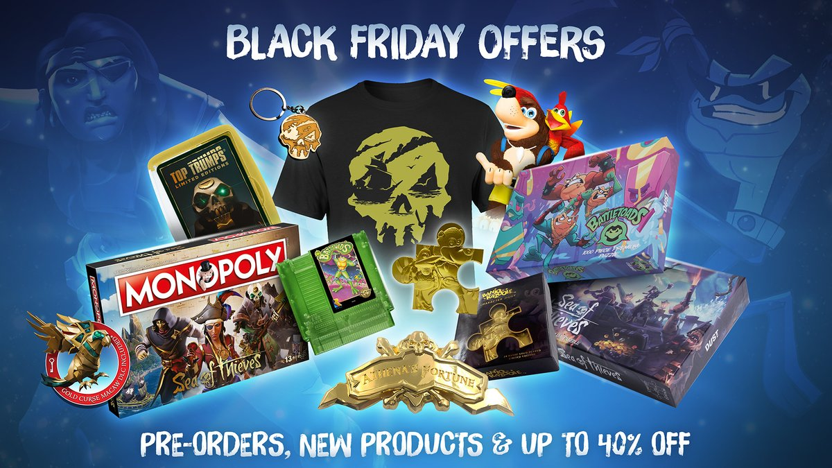 Now available to pre-order from our official merch store: jigsaws, @SeaOfThieves Monopoly, actual Battletoads NES Cartridges, 24k Gold-Plated Jiggies and more. Gosh! Go on, nip over and satisfy your desire to admire such alluring collectables: