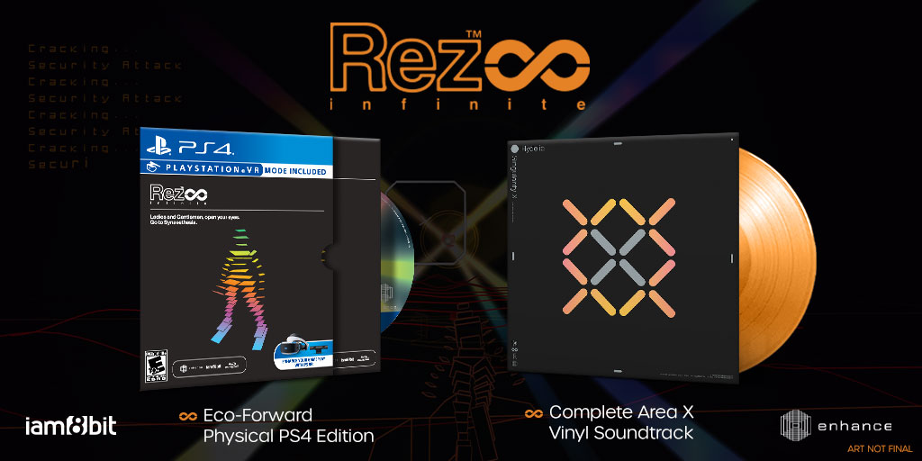 But wait.... there's more Black Friday!   Our Rez Infinite Eco-Forward Edition for PS4 and Complete Area X Vinyl by composer @HydelicMusic are now available.   Rez shirts and pins back in stock also: