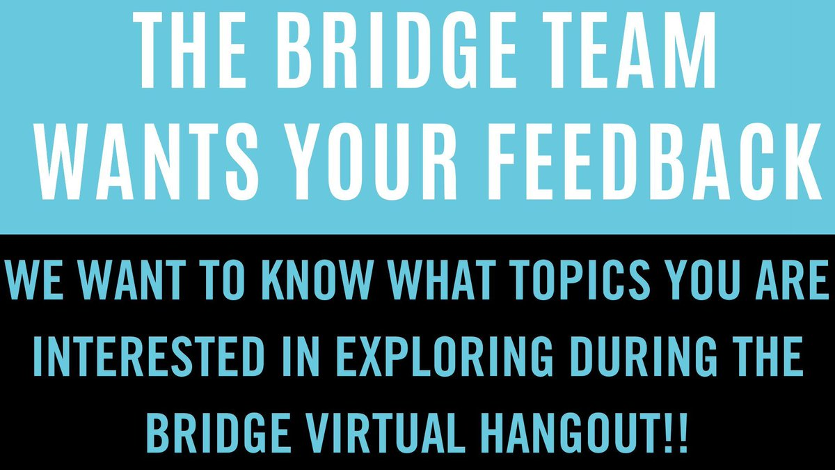 Hey #UTSC students! The BRIDGE team wants to hear from you! What topics would you like to see explored in a BRIDGE Virtual Hangout session? Take this survey and let us know:  #UofT