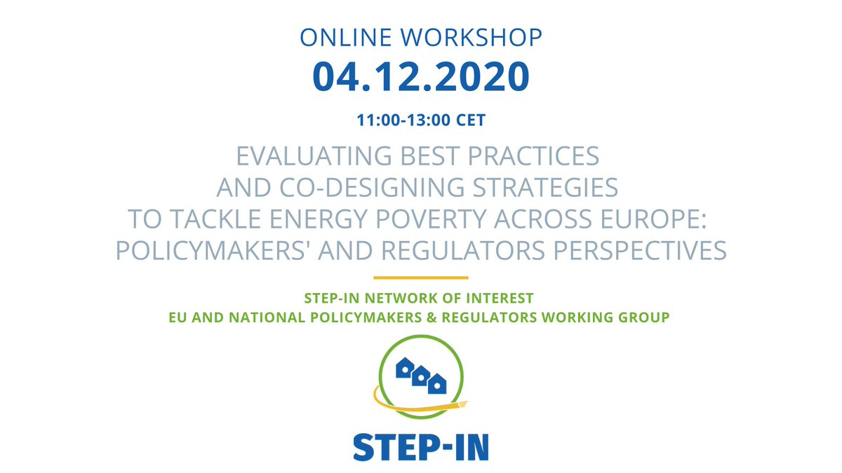 News from our projects:  @STEPIN_project will hold a workshop for policy makers and regulators next Friday to discuss their role in fighting #EnergyPoverty. Registration 👇🏽 https://t.co/9wLw7iLax1