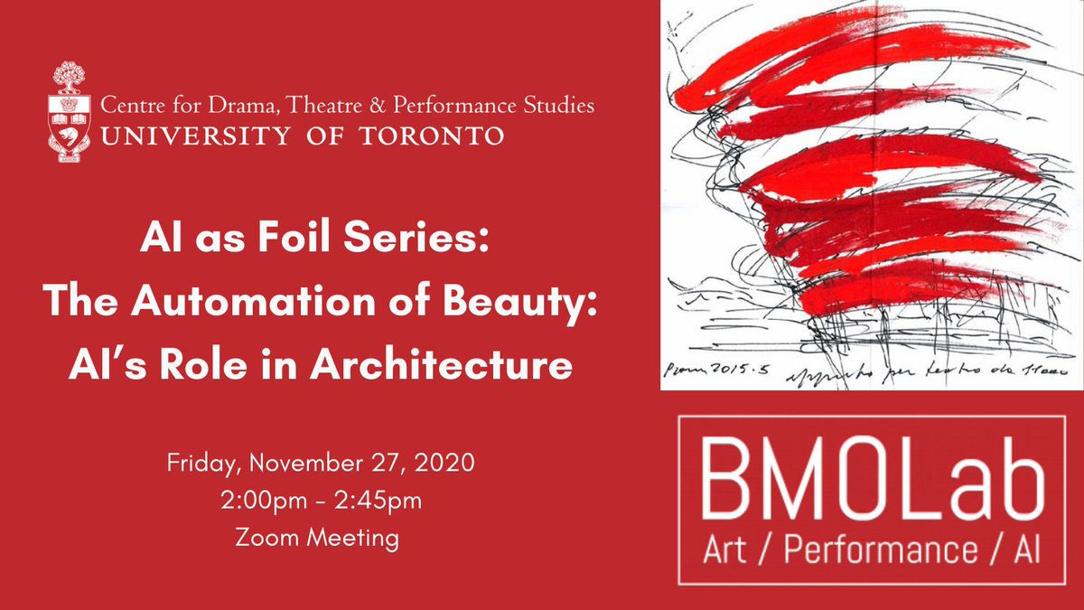 Join us today at 2pm for the @bmo_lab's AI as Foil Series: The Automation of Beauty: AI's Role in Architecture, and listen to guest speakers Architect Thomas Payne and CEO of Augmenta AI Francesco Iorio! Register in advance at  #CDTPS #BMOLabUofT #UofT #AI