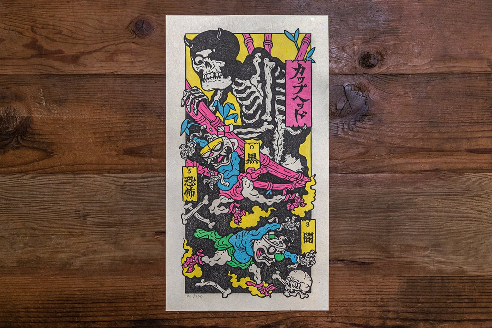 Back by popular demand: it's the Cuphead Woodblock Print!! Created in the traditional Mokuhanga technique, this neon-inspired variant is limited to a numbered run of 100, ensuring it remains unique from our first printing.  Available now at @iam8bit: