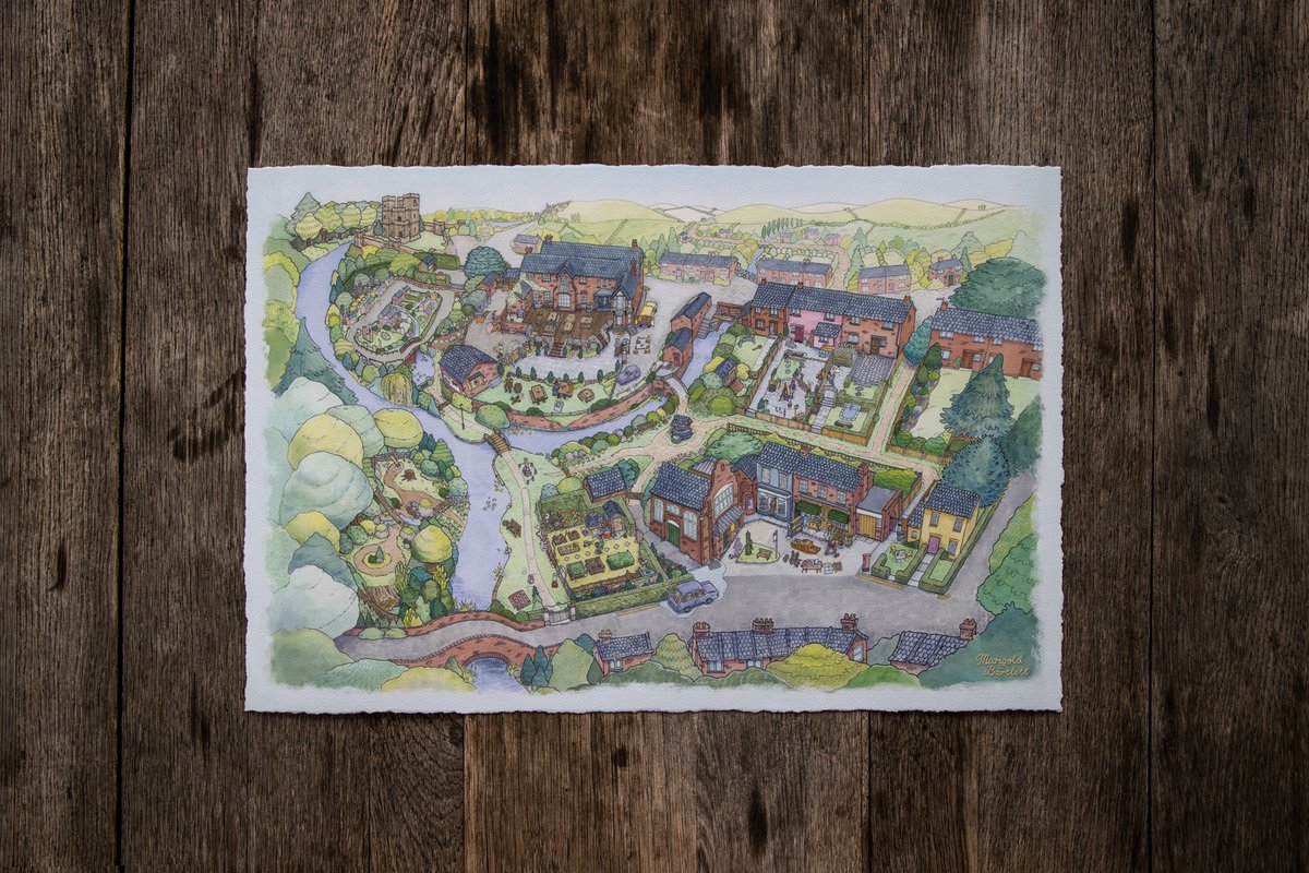 """Celebrate your fond memories of wreaking havoc upon unsuspecting townspeople with the Village Map from Untitled Goose Game.   This 16x24"""" Museum-Quality Giclée Print is beautifully composed by artist @GhostTownGoldie!"""