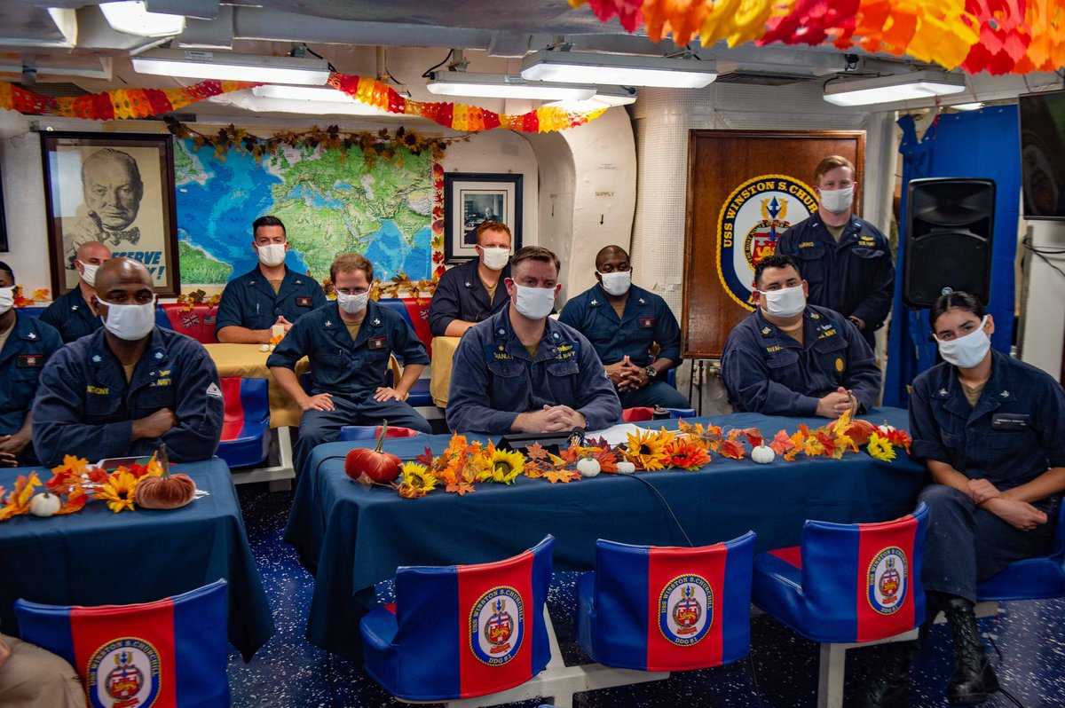 Giving Thanks. Sailors on guided-missile destroyer USS Winston S. Churchill (DDG 81) participated in a Thanksgiving video teleconference with @POTUS Donald J. Trump, Nov. 26. The ship is deployed to @CENTCOM area, supporting operations in the Gulf of Aden. #AmericasAwayTeam