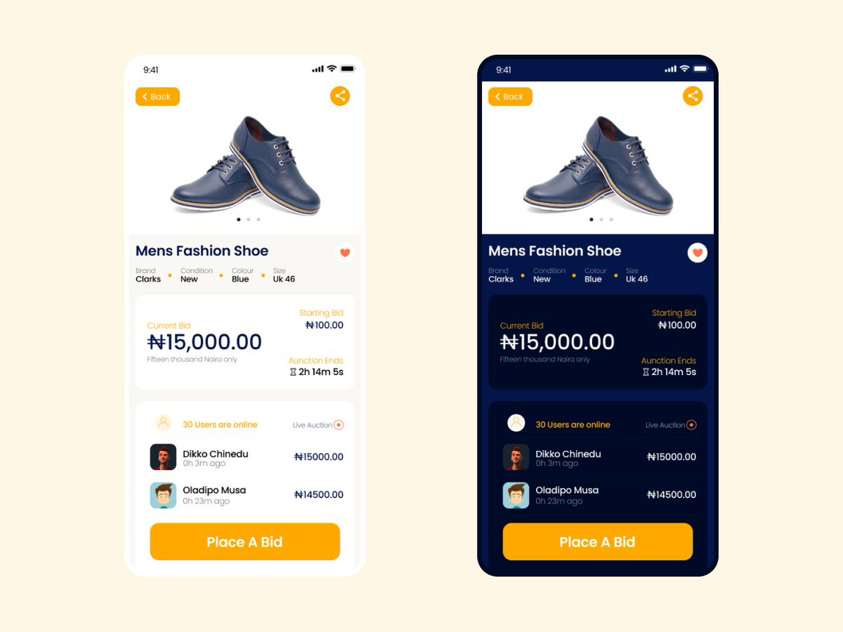 Hello! A recently designed a single mobile of an auction app. I created both normal mode and dark mode. Which one do you prefer? Please let me know in the comments. Thanks  #uidesign #uxdesign #uiux #design #designer #productdesign #BlackFriday #blacknightmarket #workit #itkmovie