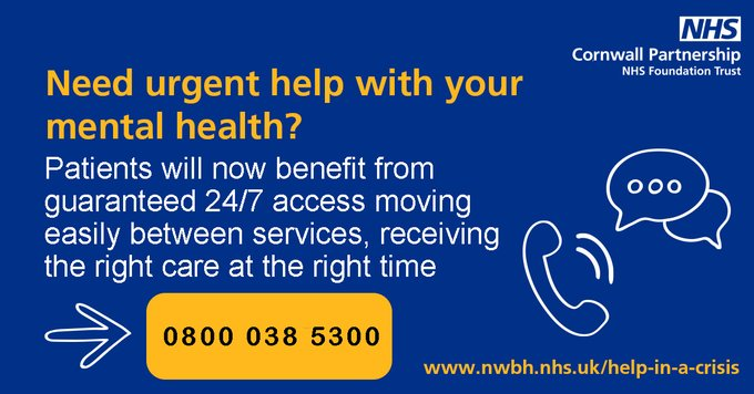 If you need urgent help with your mental health, call the initial response service on…