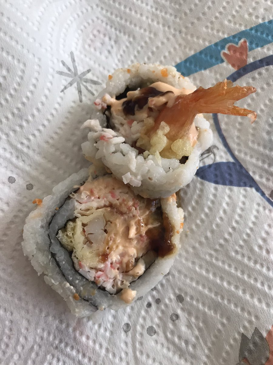 My father went to @Albertsons and buy himself some sushi 🍣 to dig in. She shared me 2 pieces because it has shrimp 🍤 in it and he's allergic to shrimp! 😅 No worries, I ate the shrimp sushi and he ate the rest. #foodpic #sushi #FridayFeeling #food