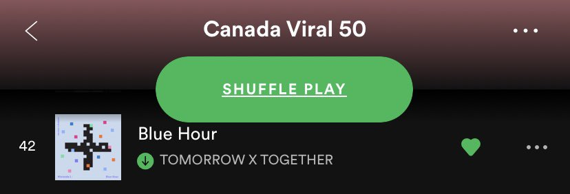"#BlueHour is positioned at #42 on @SpotifyCanada's ""Canada Viral 50""! 🎶  Keep listening to @TXT_members on this playlist: (https://t.co/T0IVswPKJu)  Use our Spotify streaming playlist: (https://t.co/p1llKI3yoZ)  #TXT #TOMORROW_X_TOGETHER https://t.co/XZ1vRGHs9v"