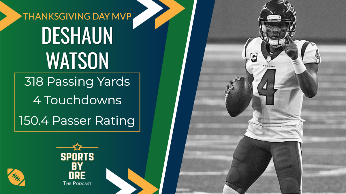 The MVP for Thanksgiving is @deshaunwatson! Watson put on a show yesterday and has now thrown 15 TDs with no INTs in the last 6 games, helping the Texans win two straight for the first time this season. #NFL #thanksgivingfootball #Texans #HOUvsDET #MVP #Week12