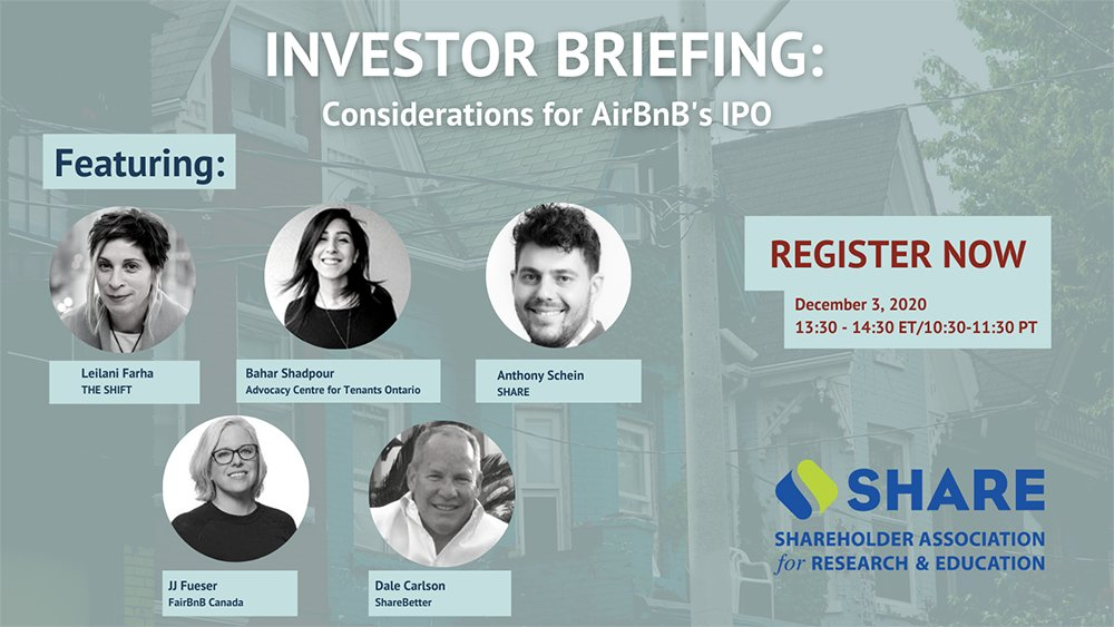 As the @Airbnb IPO approaches, its track record over the past 12 years leaves investors with essential questions about its impact on housing affordability. Join experts in housing advocacy & shareholder engagement for this crucial webinar Dec 3 1:30pm EST us02web.zoom.us/webinar/regist…