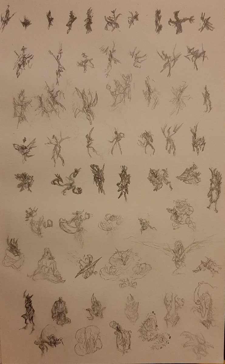 When I dont have any inspiration I just draw a shit ton of small thumbnails and just look at them till I see something I like. Kinda looks like this. Who else does this sort of thing? #doodle #thumbnails