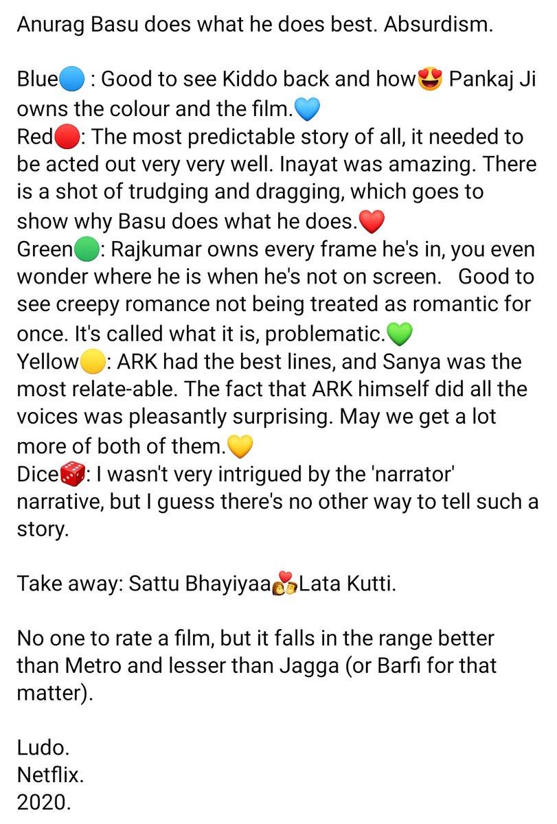 My take on #Ludo #LudoMovie on @NetflixIndia .  @ipritamofficial @rohansaraf9 @TripathiiPankaj @juniorbachchan @RajkummarRao @fattysanashaikh @sanyamalhotra07 #AdityaRoyKapur