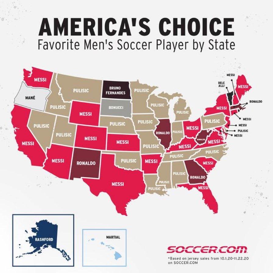 Top men's ⚽️ player jerseys sales by state from @SoccerDotCom. 🇺🇸  #SportsBiz