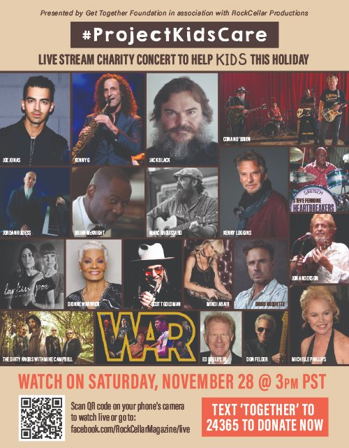 All-Star Telethon is Tomorrow! - Saturday - 3 pm PST  The GET TOGETHER FOUNDATION & ROCK CELLAR present Project Kids-Care, a live stream telethon / concert event benefitting under-served kids at the holidays!  FREE TO WATCH at