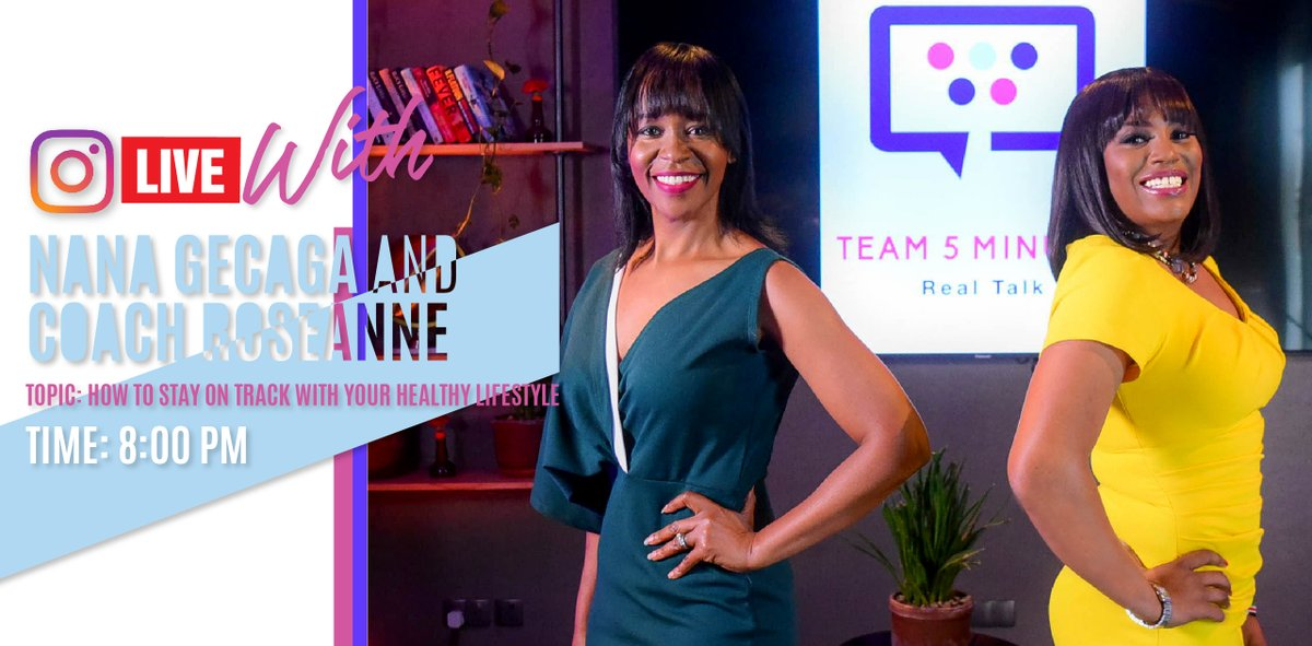 Good morning! How do you stay on track with your healthy lifestyle? Let's talk about it tonight, live on Instagram, with @NanaGecaga and Coach Roseanne. See you at 8pm!  Incase you missed it, catch episode 2 of Team 5 minutes real talk here--> https://t.co/tHT6dgwVVJ  #RealTalk https://t.co/HF9epkLBgs