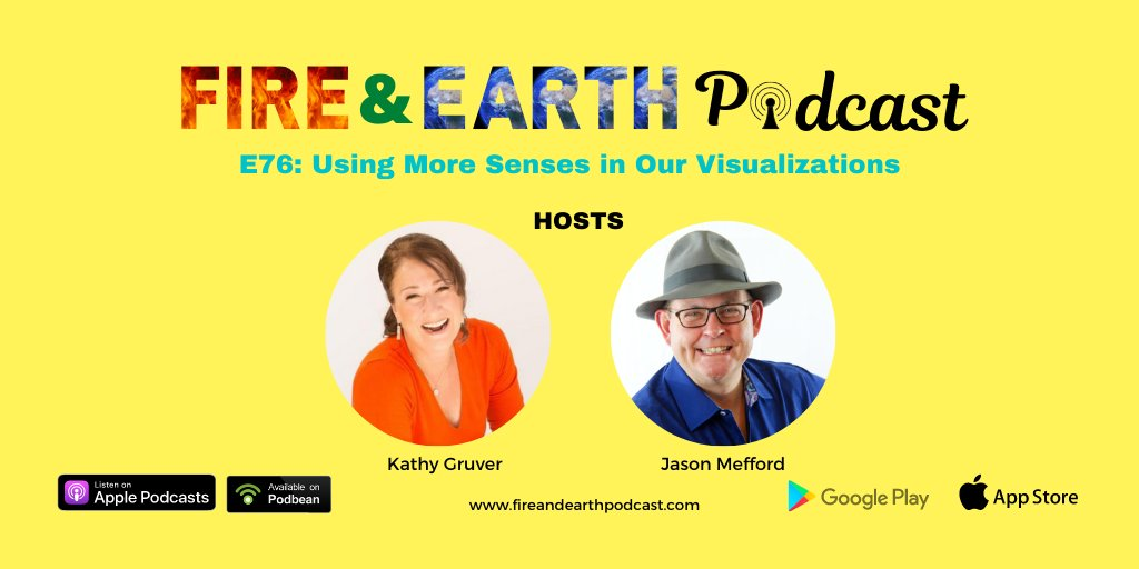 E76: Using More Senses in Our Visualizations https://t.co/lPAYJTmcKh  #EP76 #fireandearthpodcast #podcast #speakers #podcasters #Episodes #kathygruver #jasonmefford #podcast #podcastinglife #podcasting https://t.co/lKbJq2ChdY