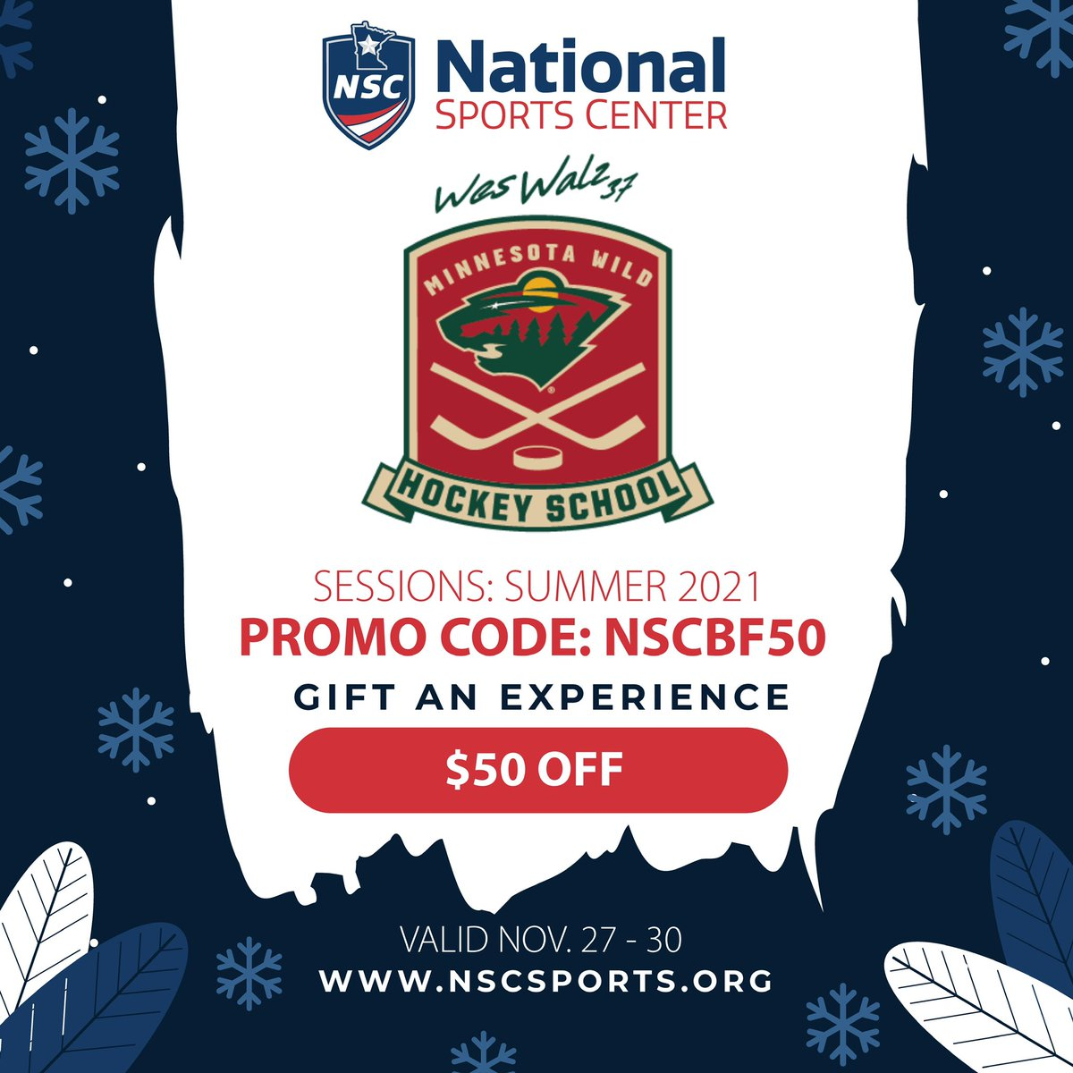 Learn from the pros at @walz3737 @mnwild Hockey School!  Receive $50 off 2021 registration fees by applying via https://t.co/UHFQlqADM8 and entering Black Friday promo code NSCBF50 at checkout. (10 player cap applies to this promotion) https://t.co/brJU2XTOKG