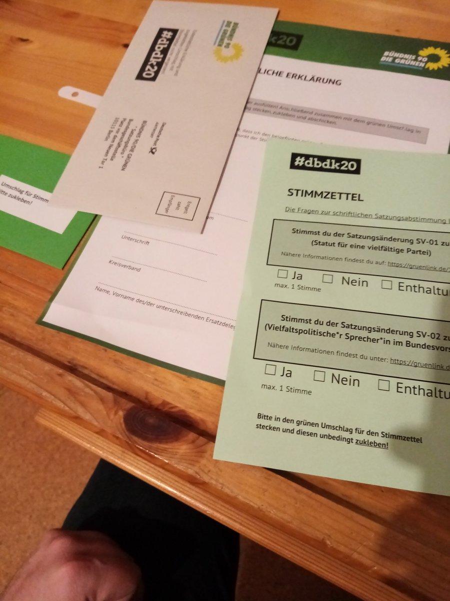 Dann werde ich jetzt gleich mal in der #Briefwahl für das #grüne #Vielfaltsstatut abstimmen. #dbdk20 https://t.co/Hx3gWAu1T2