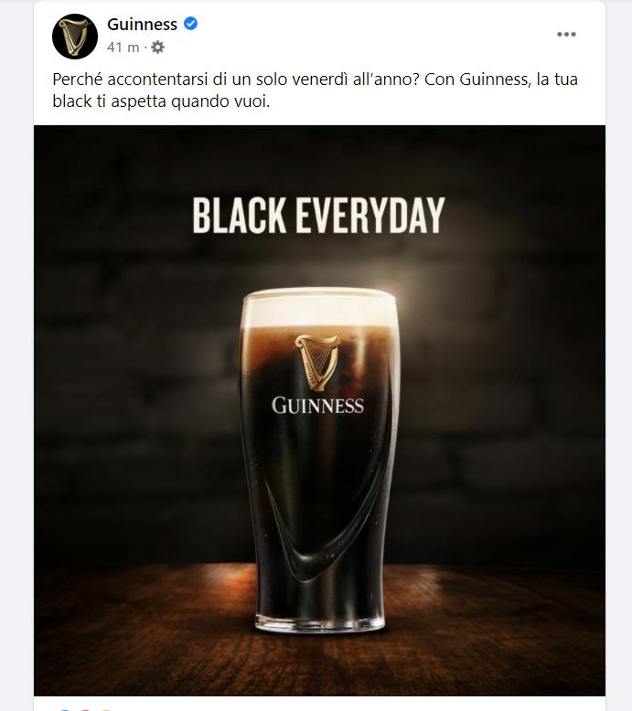 ----> https://t.co/g5Dx3Cerzf  Oggi si celebra il Black Friday. Quali prodotti stanno proponendo i più grandi brand italiani sui social media?    (nella foto, il post di Guinness su Facebook)  #BlackFriday  #BlackFriday2020 https://t.co/gaDEfuTccO