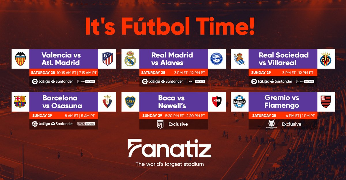 Fanatiz has a lot this weekend: Valencia-Atlético Madrid, Real Madrid-Alavés, Real Sociedad-Villarreal, Barcelona-Osasuna, Boca-Newell's & Grêmio-Flamengo. Free 7-day trial at https://t.co/kVgpfHICed to watch top leagues via The world's largest stadium. #FanatizTV #FanatizPartner https://t.co/ZwguD9BduQ