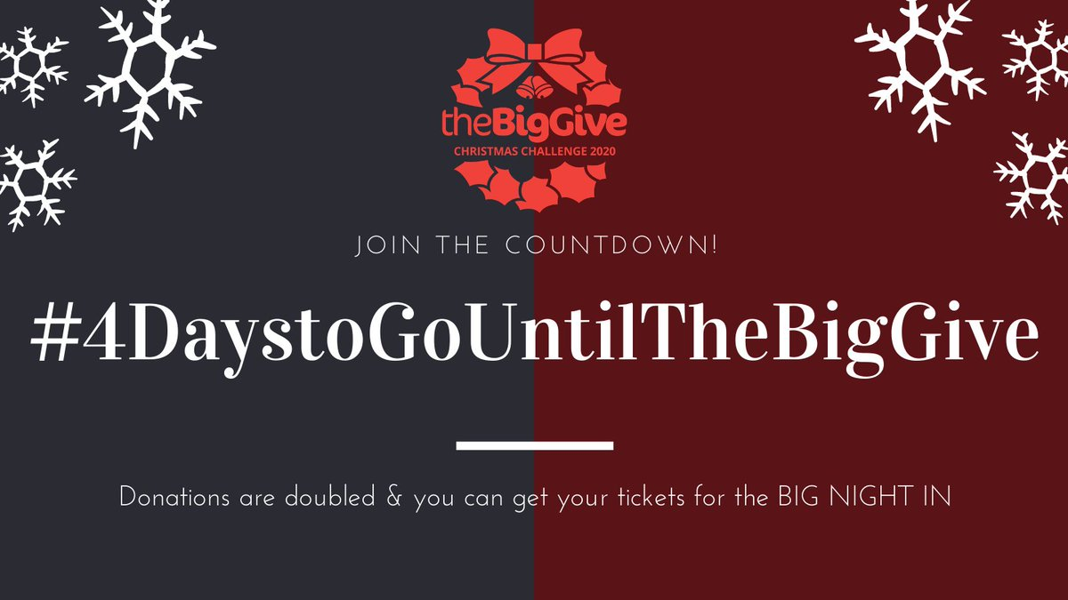 Only 4 days until the @BigGive #ChristmasChallenge20 opens where your donations will be DOUBLED! On top of this, any donation over £20 will receive an invitation link to our #BigNightIn RSVP here; https://t.co/8RCMeHRkUI https://t.co/U1qMDNzuH1