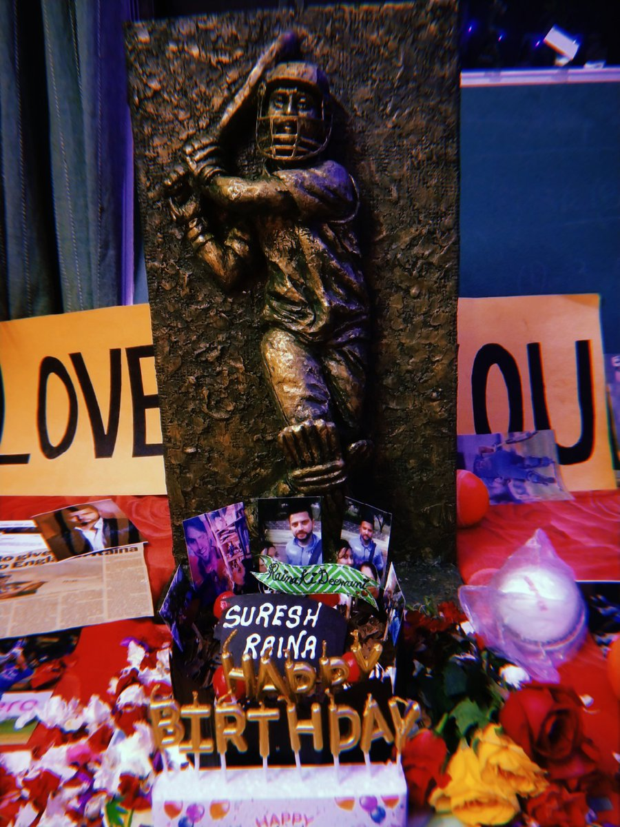 Here's my gift to my Idol @ImRaina ❤✨🎂 A small tribute to the man I adore with all my heart🙌🤗  My father is a big fan hence this sculpture for you. A tribute🎉😌Have a look champ @ImRaina 👑🔥  #HappyBirthdayRaina  #HappyBirthdaySureshRaina