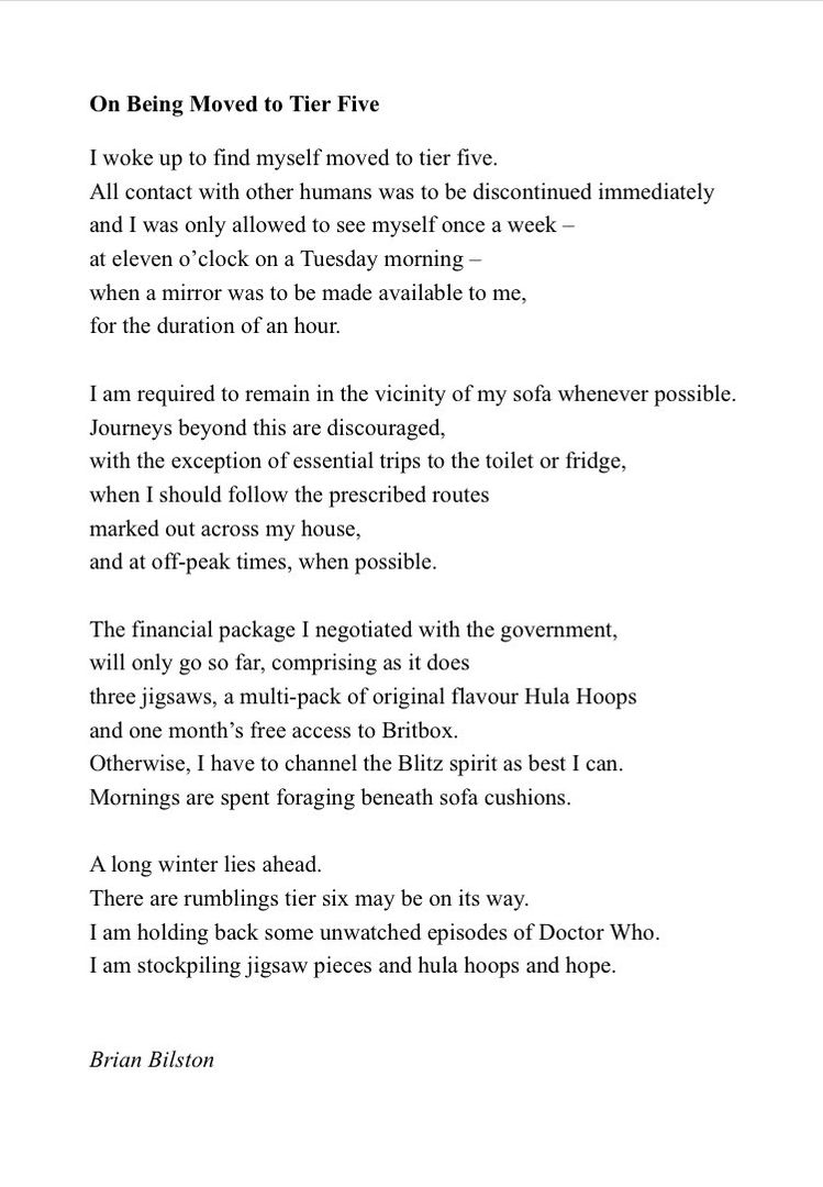 Happy weekend all! If you are in a tier, whatever level it is, enjoy your unwatched episodes and hula hoops, and the hope that there will be no Tier Five, as chronicled by @brian_bilston.