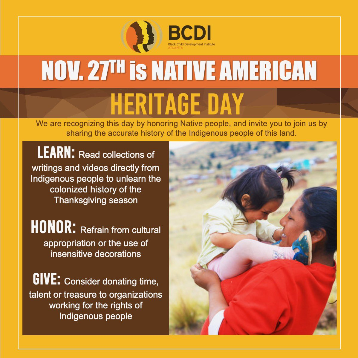 Today is #NativeAmericanHeritageDay!   We are recognizing this day by honoring Native people, and invite you to join us by sharing the accurate history of the Indigenous people of this land.