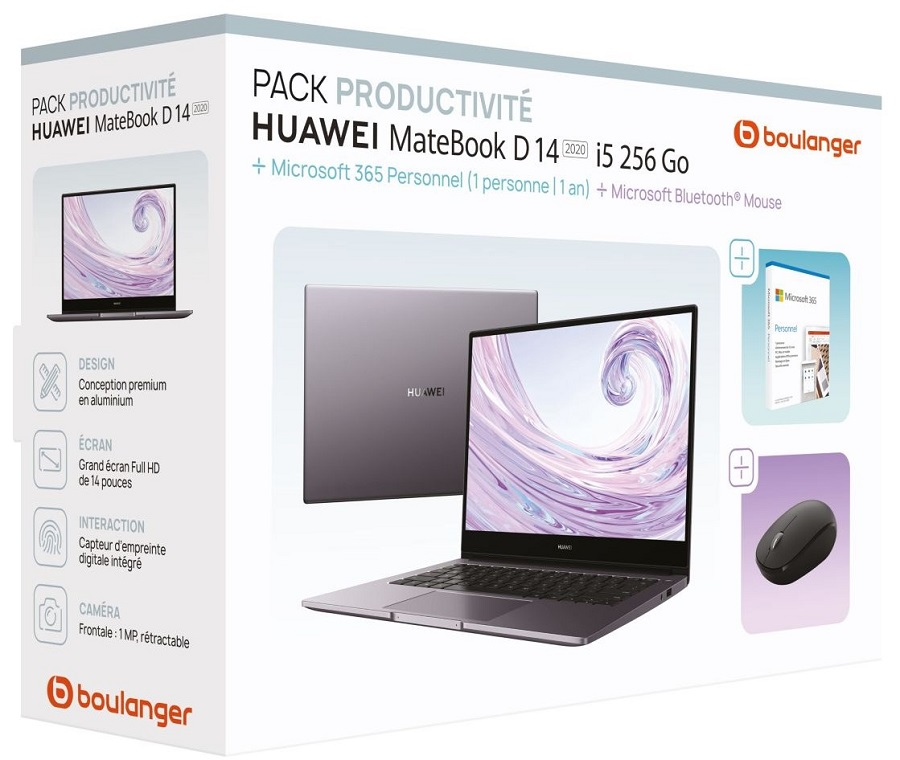 Huawei Pack Matebook D 14 i5 2020+MS365+souris Ordinateur portable pas cher prix PC portable Boulanger 649.99 € TTC au lieu de 799.99 €.   😍Découvrir ici - https://t.co/1bpxn0NEkw  #Ordinateurportable #Boulanger #PcPortable #OrdinateurportableHuawei #Huawei #BlackFriday https://t.co/e5m9A5R8Xr