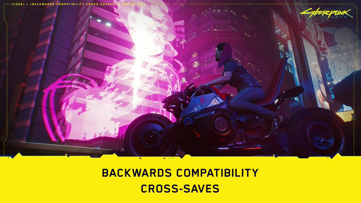 Attention console players!  If you start playing #Cyberpunk2077 on PlayStation 4 or Xbox One, you will be able to continue playing it on a corresponding next-gen console. Here's how the cross-saves will work:  PlayStation: https://t.co/F3fi6akL5L Xbox: https://t.co/0ghoo3JptD https://t.co/W24u6WzXxB