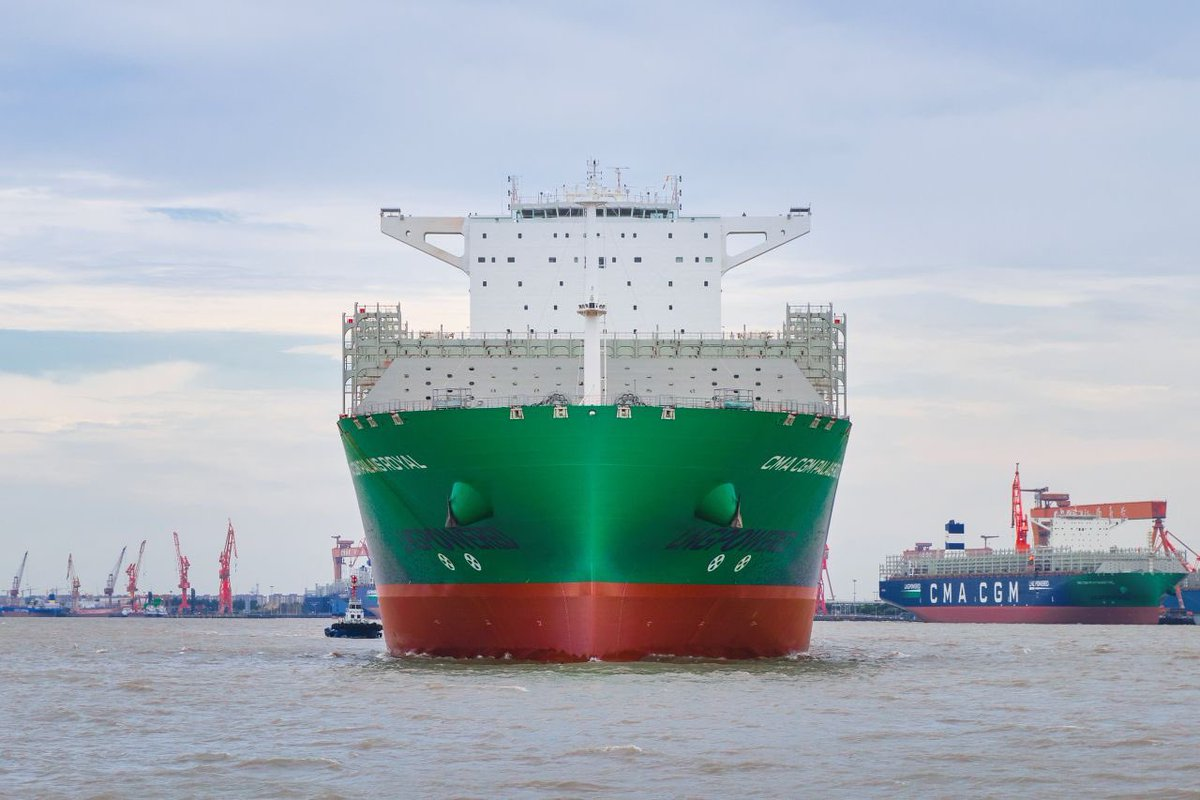 A new testimony of our commitment for maritime transport's energy transition!  Our #CMACGMPalaisRoyal, the 8th vessel of our 26 #LNG-Powered fleet, has just left the shipyard in #Shanghai.  LNG, a pionnering technology that aims at preserving air quality.  Who is next?