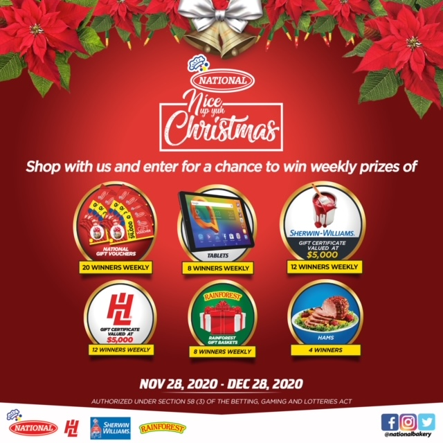 It's time to NICE UP YUH CHRISTMAS! 🎄   Shop at National Wholesale Stores from Saturday, November 28 to Monday December 28, 2020 for a chance to WIN! https://t.co/K4OENsNiVR
