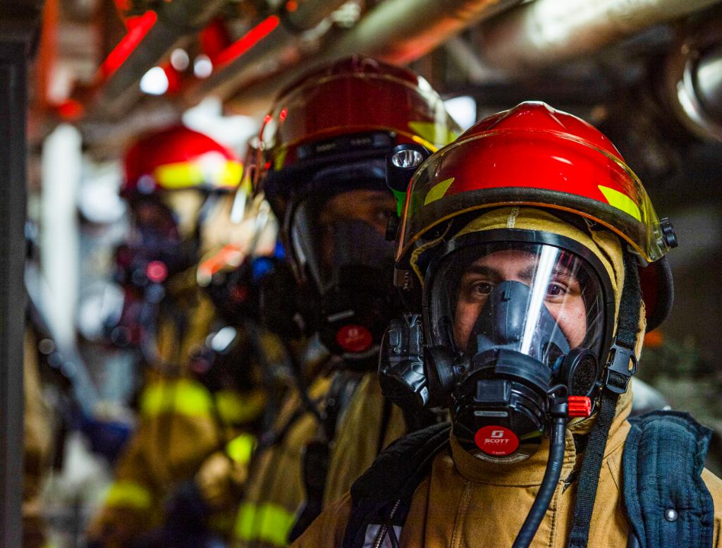 Every firefighter may not be a Sailor, but every Sailors a firefighter. Sailors participate in a general quarters drill aboard the guided-missile destroyer USS Sterett (DDG 104). Sterett is part of the Nimitz Carrier Strike Group, deployed conducting maritime security ops.