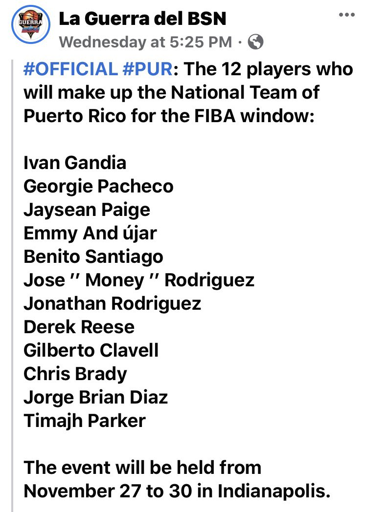 More good news to announce. Former @OspreyMBB BALLER @IGandia10 will take a leave from his pro team in Cyprus as he has been selected to compete again for the 🇵🇷🏀 National Team this week. #PROSwoopers