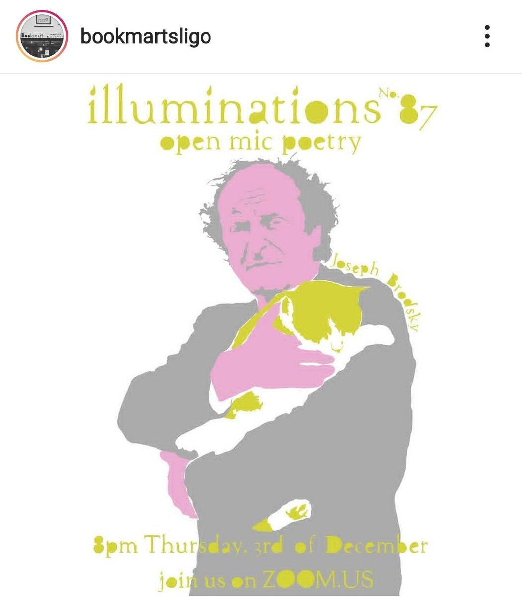 Open Mic poetry Zoom event coming up in #Sligo #December 3rd See below tweet for contact details. Bookmart on Instagram not on twitter (or can't see if they are)  https://t.co/EBLDaQvXDw #OpenMic #poetrycommunity #Poetryin13 #virtualpoetry #SpokenWord https://t.co/DMvd5RLeMe