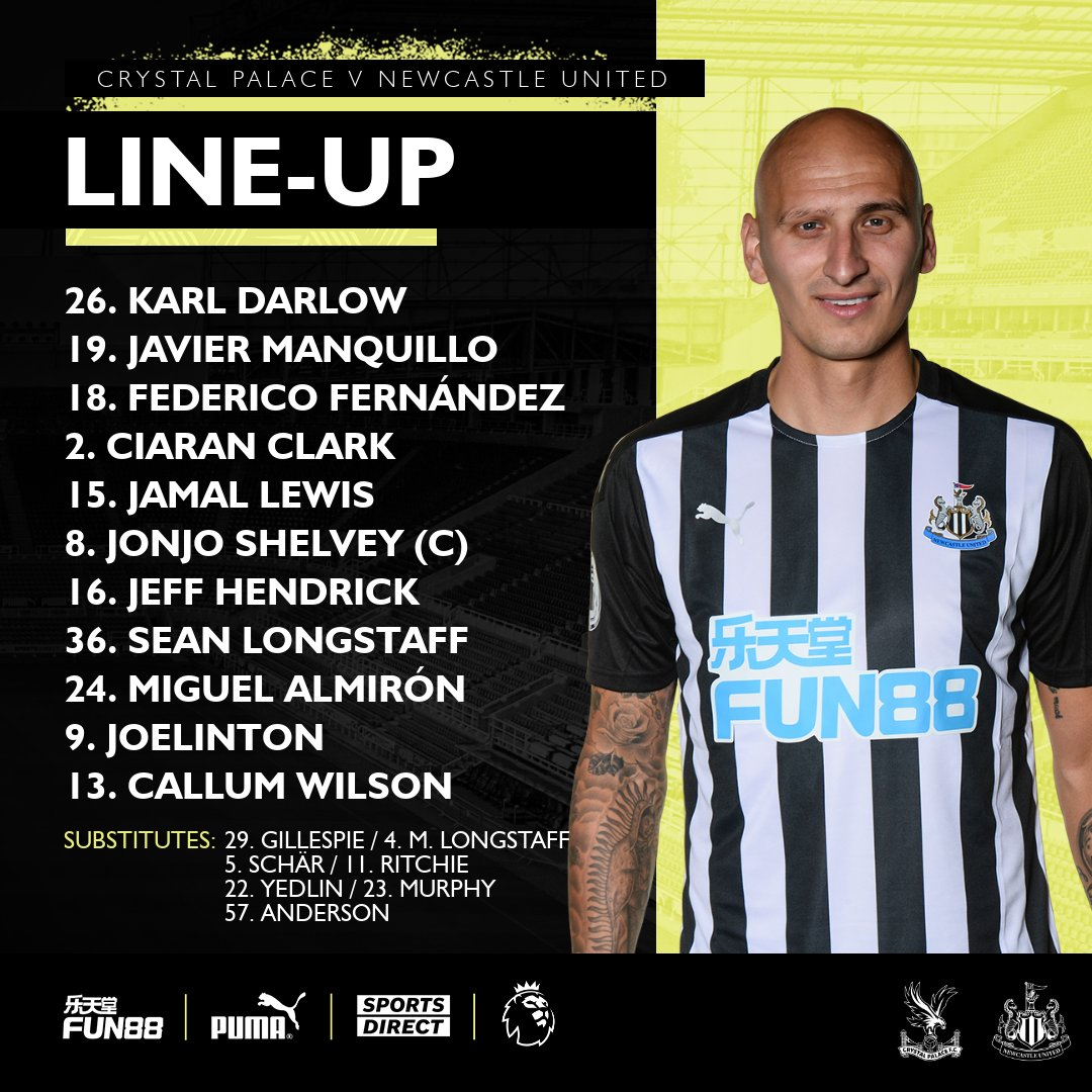 Replying to @NUFC: TEAM-NEWS 🚨  This is how we line-up for #CRYNEW at Selhurst Park this evening.  HWTL! ⚫️⚪️