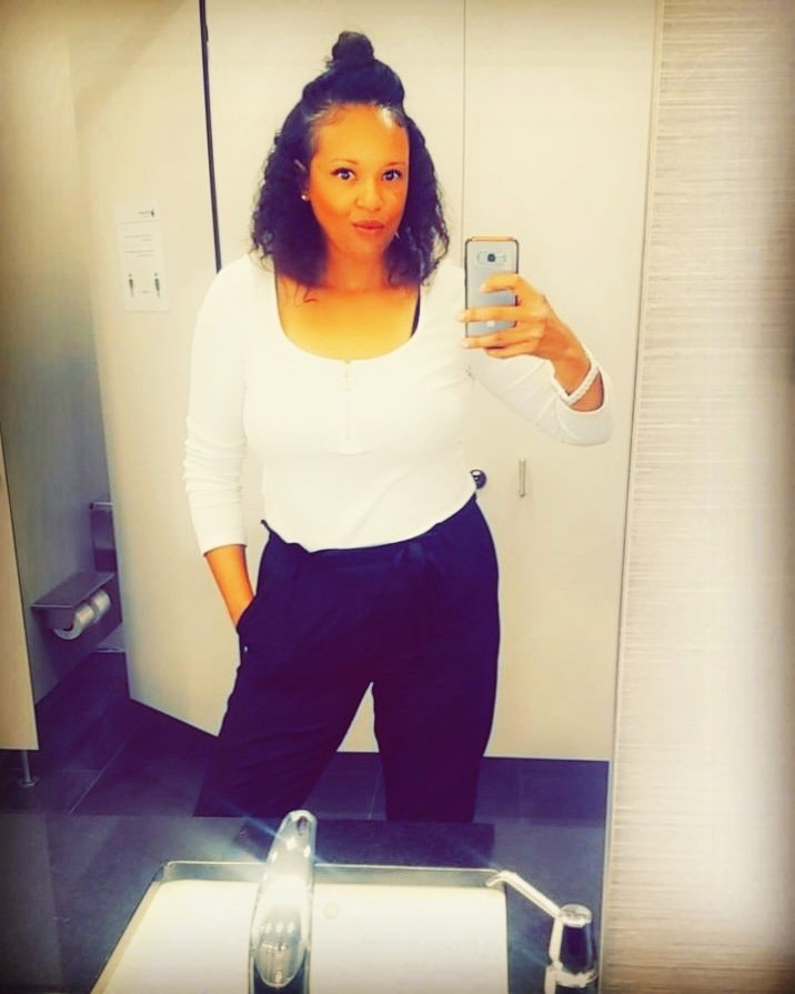 I absolutely love my Ring Zipper Bodysuit from @shein_us  The material is soft and stretchy. It fits great and very versatile👍🛍  #selfiequeen  #workdayfashion #discountfashion #affordanlefashion