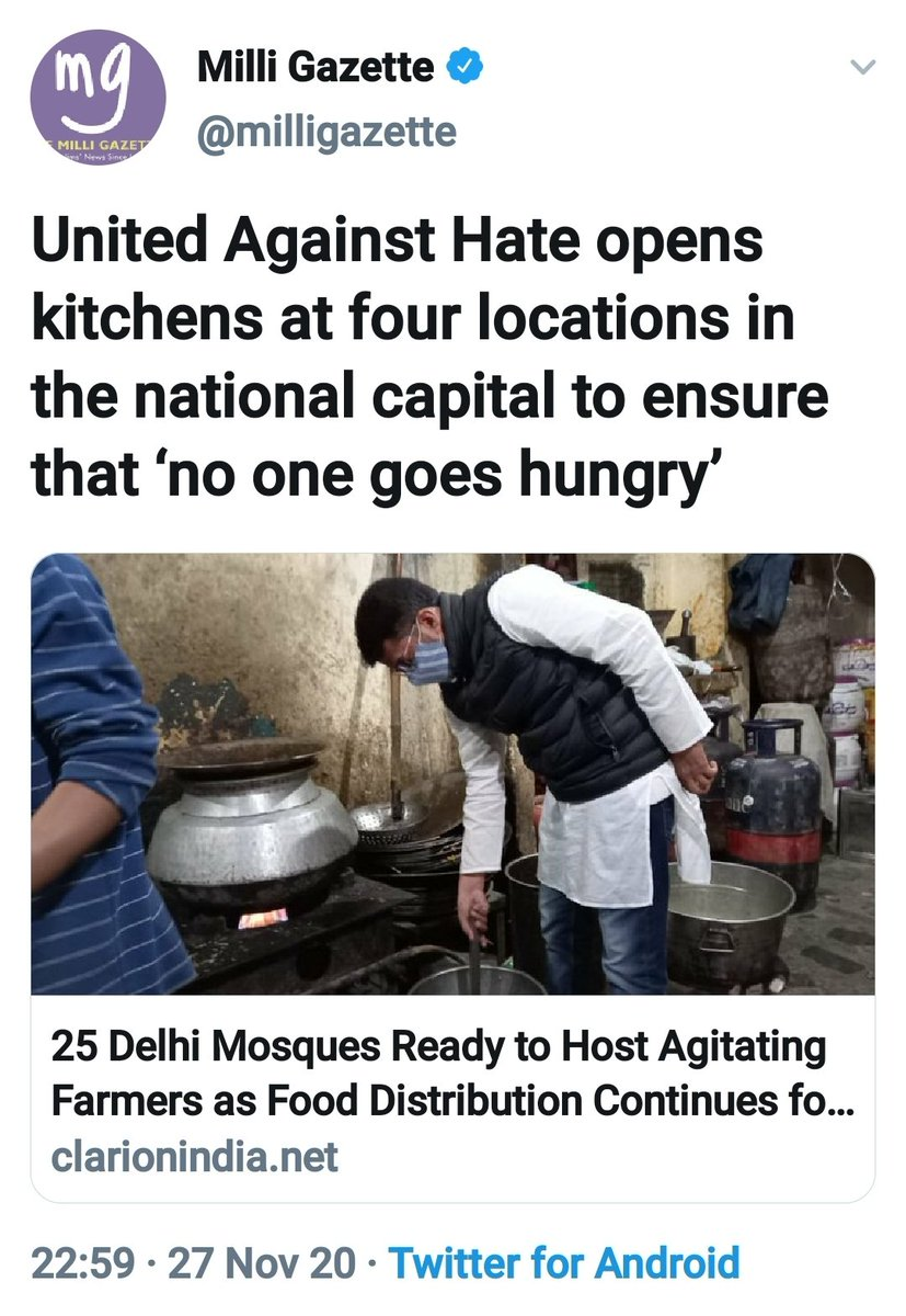 'United Against Hate' have opened kitchens in Delhi to ensure that no one goes hungry at the #FarmersProtests.  For your information, 'United Against Hate' is an organization founded by Umar Khalid & has also been named in Delhi riots chargesheet by the Delhi police. Kuch samjhe? https://t.co/ir0etCPoQw