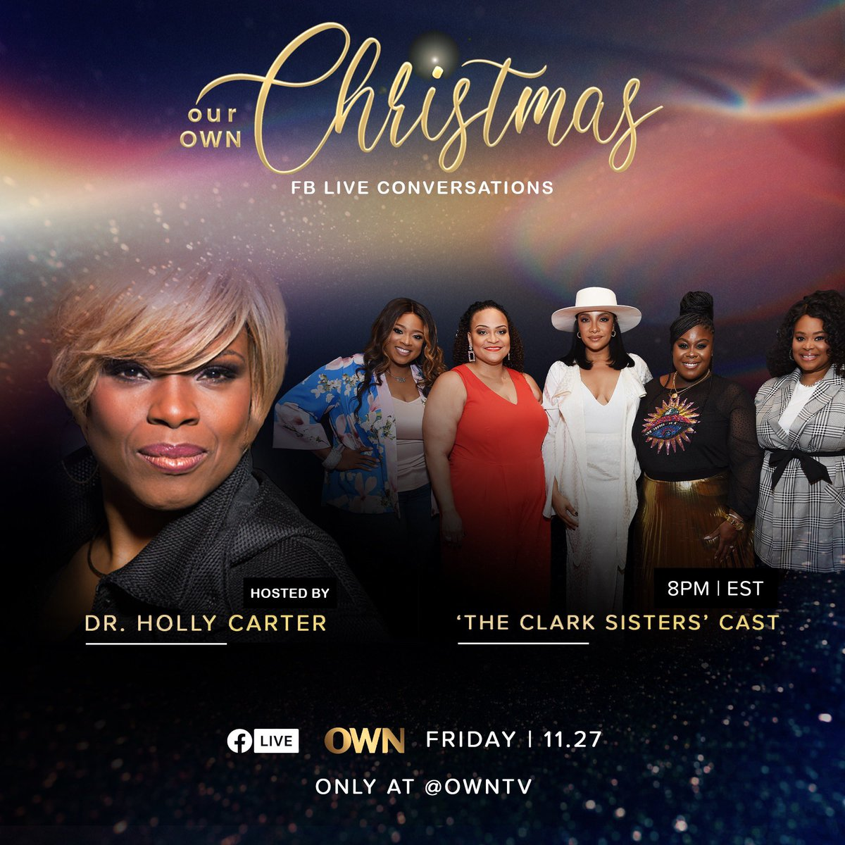 TONIGHT! @DrHollyCarter goes live with the cast of The Clark Sisters! Tune in at 8p ET on @OWNTV's Facebook live! https://t.co/lY3L29D9gx