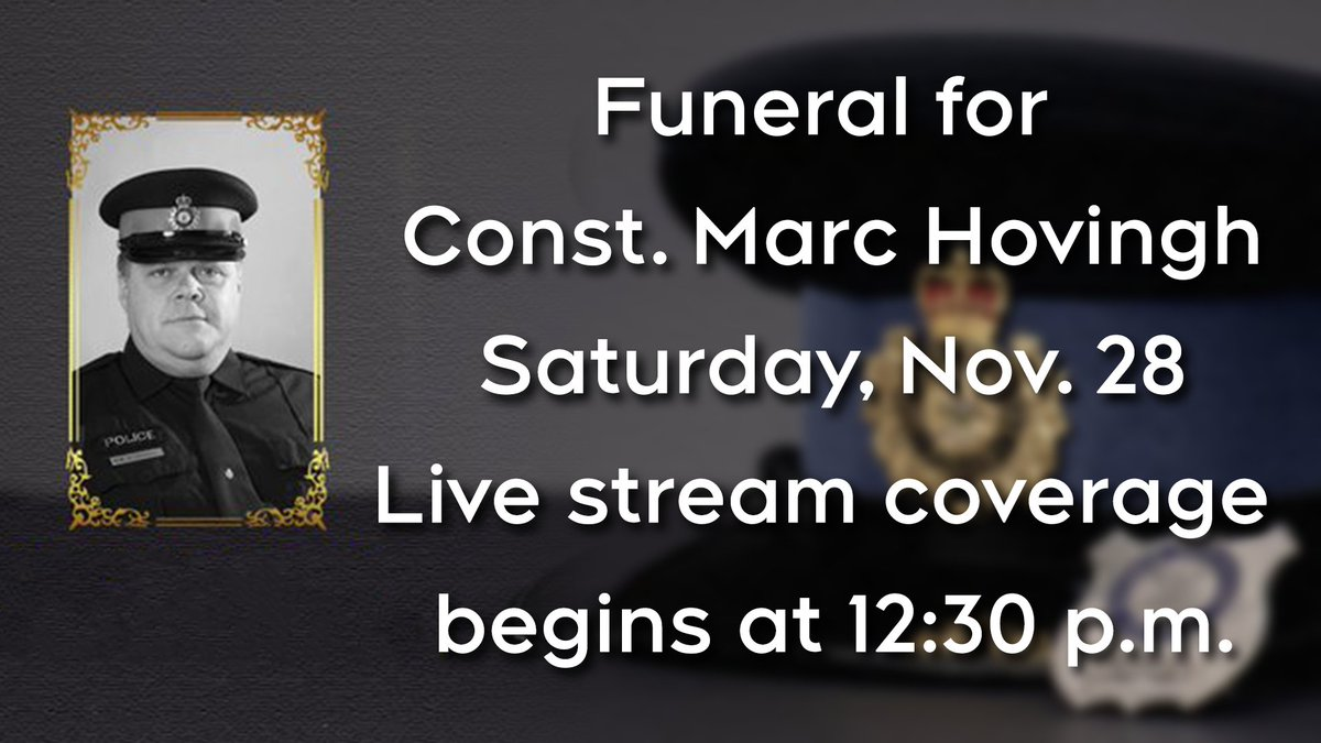 LIVE NOW:  Watch the live stream of the funeral for OPP Const. Marc Hovingh, who was killed in the line of duty last week on Manitoulin Island. Ceremony begins at 1 p.m. https://t.co/yEfYImHKwG https://t.co/qbbfJdaBck