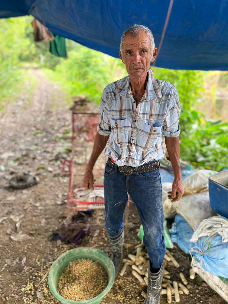 Don Julio is a farmer in El Nueva Vida near Puerto Barrios, Guatemala hit by Eta & Iota. When rains broke yesterday, he returned from a shelter to find most of his crop lost. He worked to harvest what he could, stopping only for a quick photo—and to say thanks for the WCK meals.