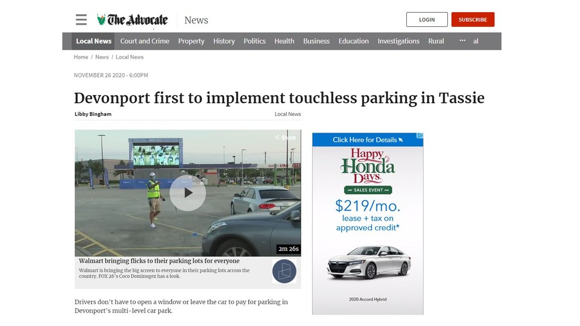 When you're so good you make the news!   #ZipBy #touchless #parking is now available at CBD Multi-level Car Park, Best Street in #Devonport #Tasmania     @TheAdvocateAU #Australia #Australian #technology #contactless #tassie #parkingindustry #COVID19