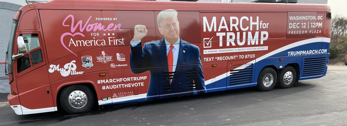 Just picked up the #MarchForTrump bus!   On our way to South Florida!   See you on November 29th - go to https://t.co/kyp7WF8o5r for more dates and locations!   #MAGA2020 #Trump2020 #TrumpTrain #StopTheSteal https://t.co/xwcfJCVh3M