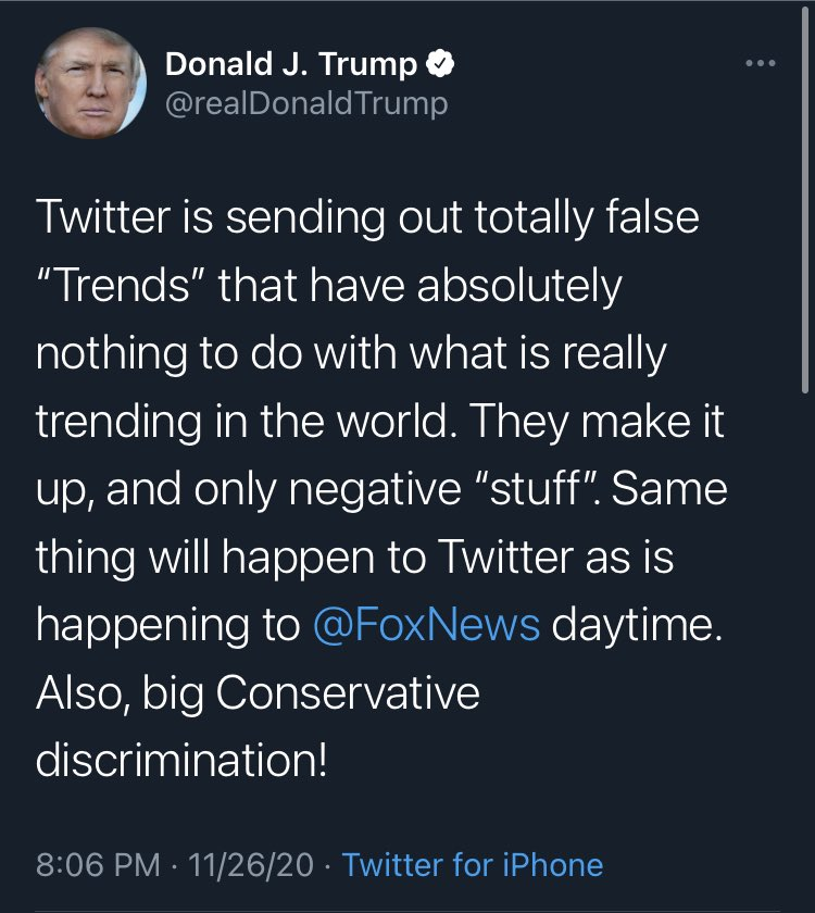 Wow. Widdle baby got mad that #DiaperDon was trending so he first threatened to get rid of Section 230 and is now claiming Twitter just makes stuff up. Just... wow. This reality show needs new writers. It jumped the shark and ceased to be believable after the election.