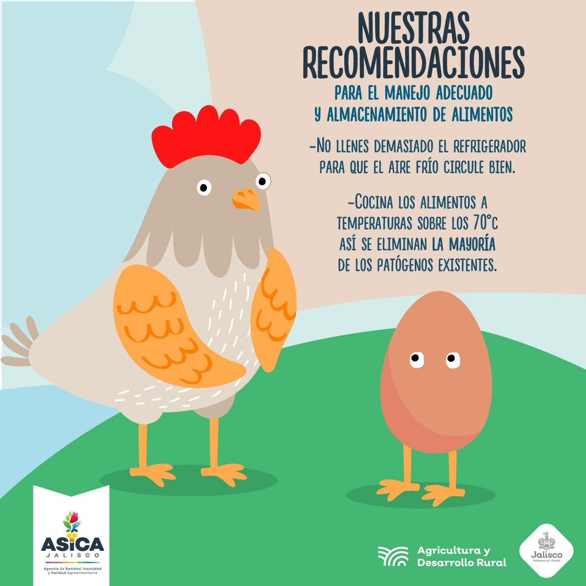 Te invitamos a seguir estas sencillas recomendaciones de manejo y almacenamiento higiénico de los alimentos. #ASICAJalisco #InocuidadJalisco #ASICA #Sanidad #Alimentos #Calidad #FAO https://t.co/AUV5hVmNg0